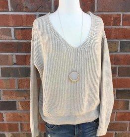 Oatmeal Lace Back Sweater