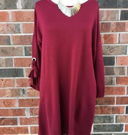 Wine Eyelet Sleeve Dress