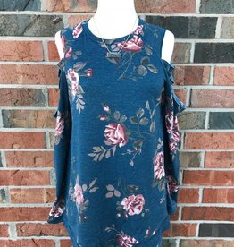 Navy Floral Cutout Top