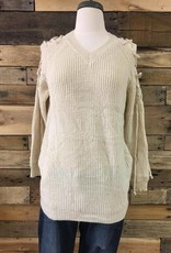 Taupe Laced Shoulder Sweater