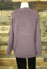 Mauve Laced Shoulder Sweater