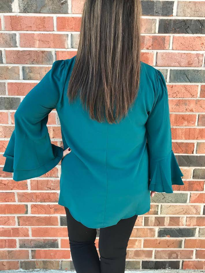Plus Emerald Ruffle Sleeve Top