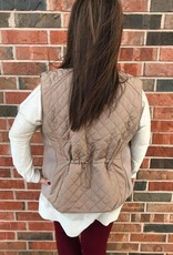 Plus Taupe Quilted Vest