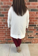 Plus Oatmeal Cold Shoulder Top