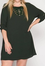 Plus Olive Lace-Up Shift Dress