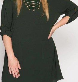 Plus Olive Lace-Up Shift Dress