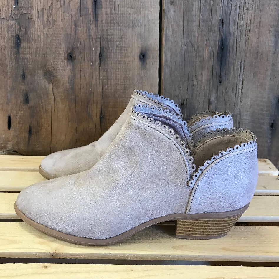 Taupe Scalloped Weekend Bootie