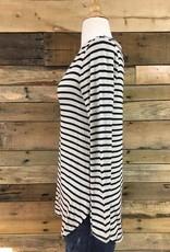 Oatmeal/Black Striped V-Neck