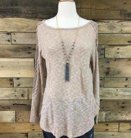 Taupe Crochet Trim Top