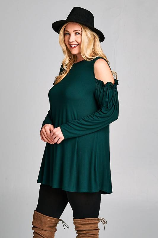 Plus Emerald Cold Shoulder Tunic