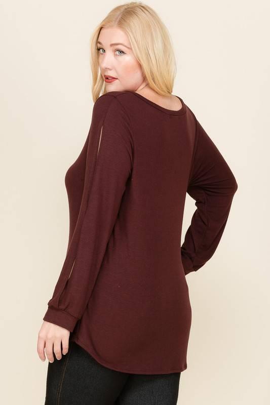Plus Burgundy Split Sleeve Top