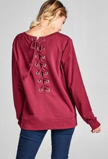 Burgundy Lace Back Sweater
