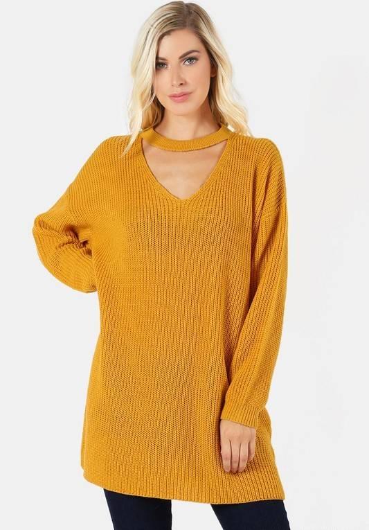 Mustard Choker Neck Sweater Tunic