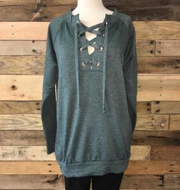 Hunter Green Lace-Up Pullover