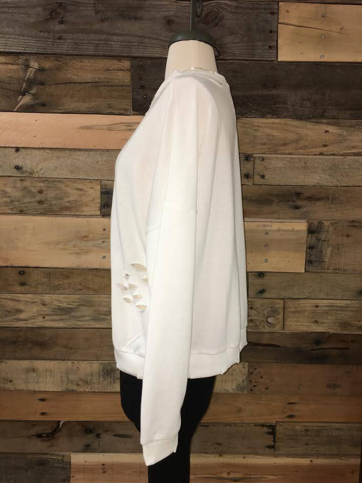 Ivory Distressed Pullover