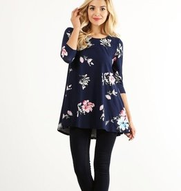 Navy Floral Tunic