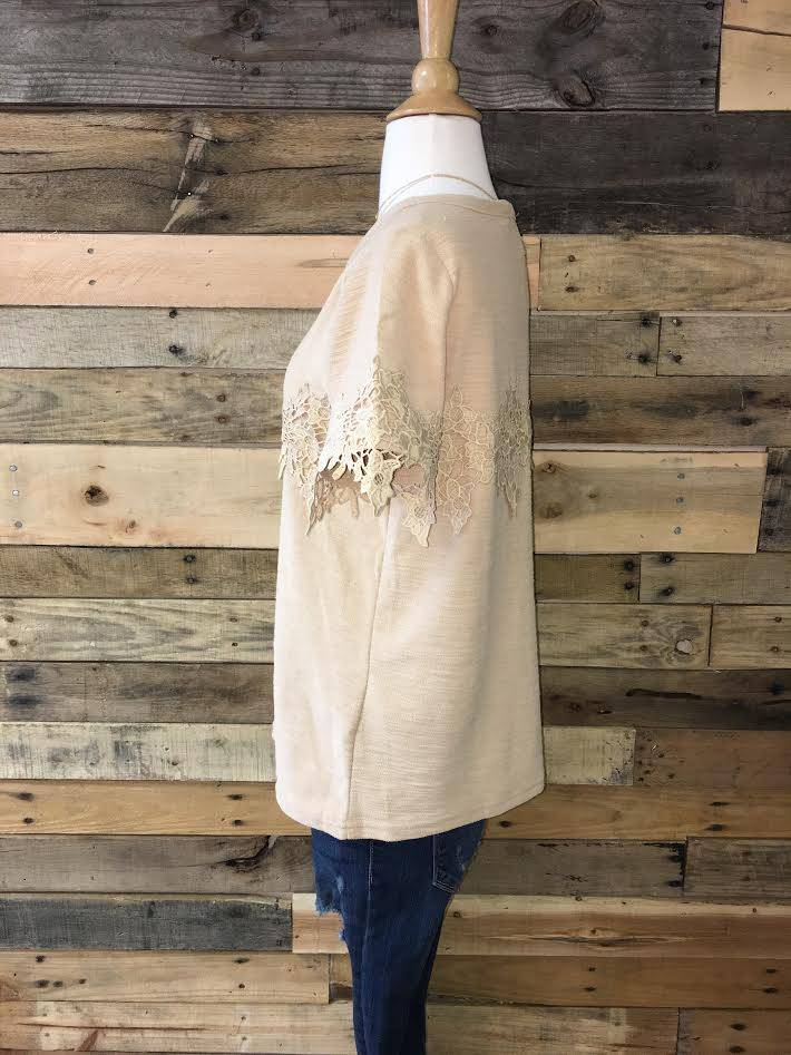 Taupe Crochet Lace Tee