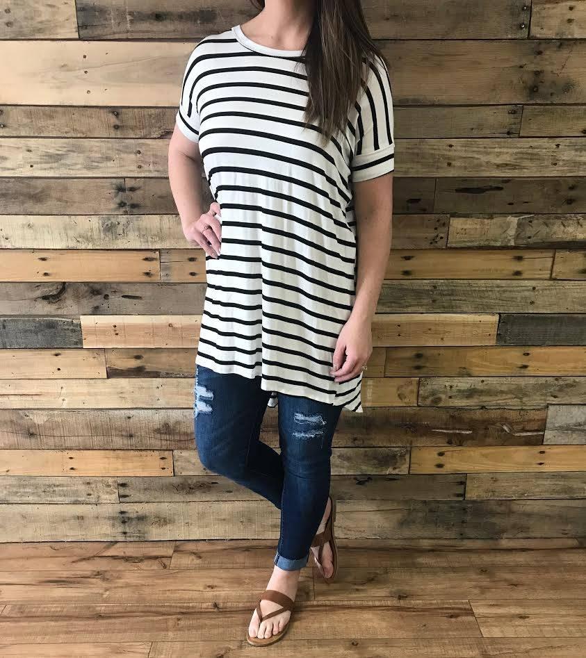 Ivory/Black Striped Criss-Cross Tunic