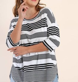 Plus Black/Cream Striped Top