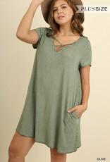 Plus Faded Olive Criss Cross Dress