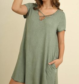 Plus Faded Olive Criss Cross Dress