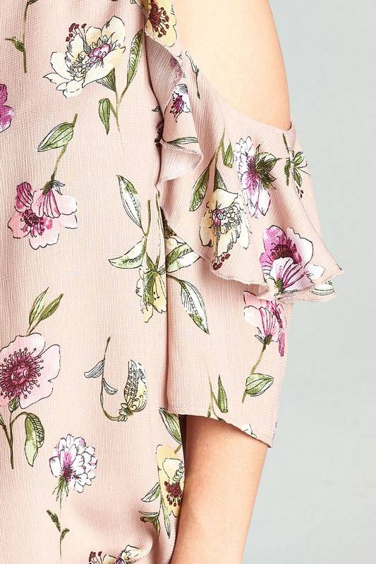 Plus Taupe Floral Cold Shoulder Top