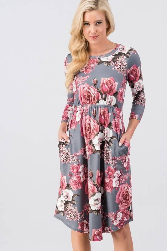 Grey Floral Midi Dress