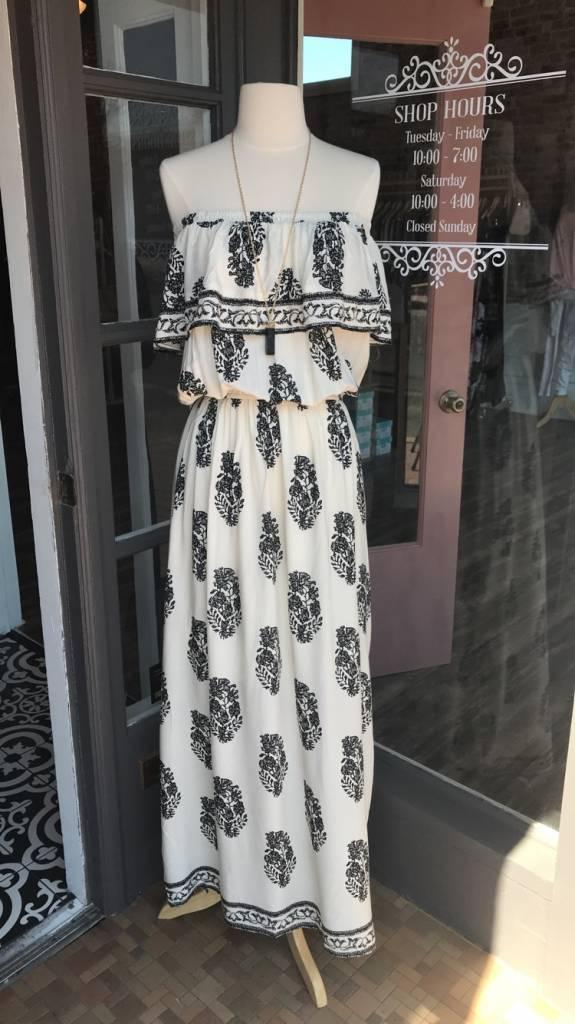 Ivory/Black Maxi Dress