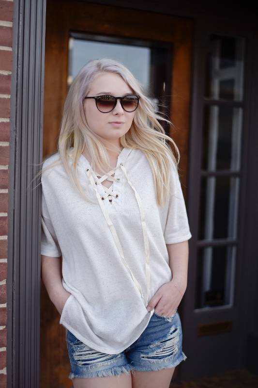 Ivory/Oatmeal Lace up Hooded Tee