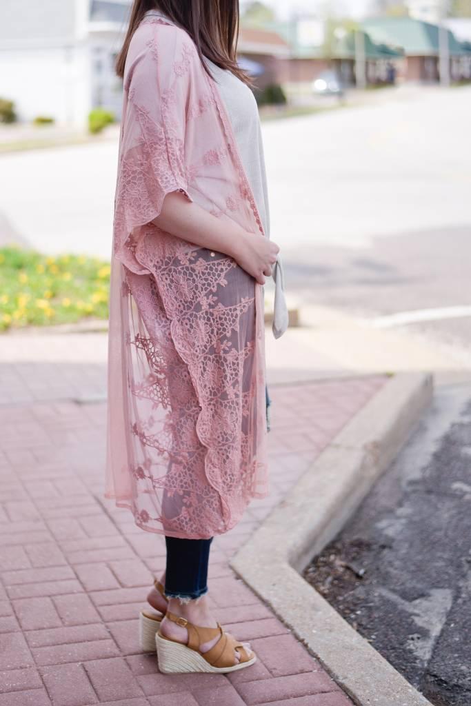 Blush Lace Maxi Kimono