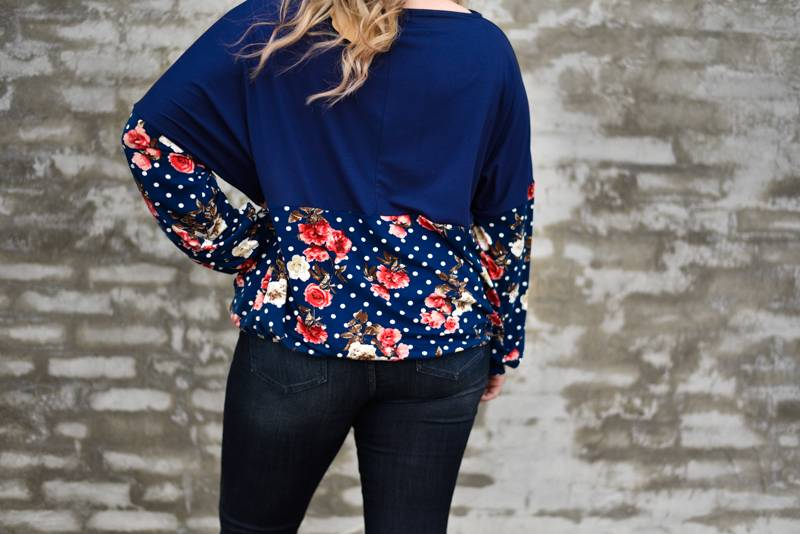 Navy Polka Dot/Floral Pullover