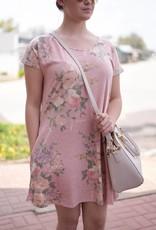 Pink Floral T-Shirt Dress