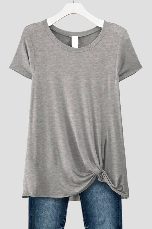 Heather Grey Front Knot Tee