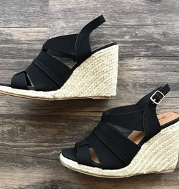 Black Espadrille Wedge