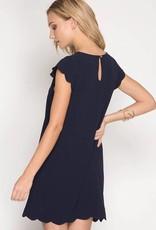 Navy Scallop Dress