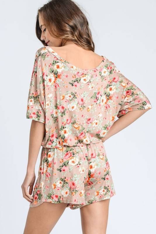 Taupe Floral Romper
