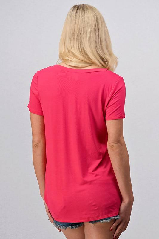 Coral Front Knot Tee