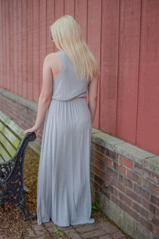 Heather Grey Criss Cross Maxi