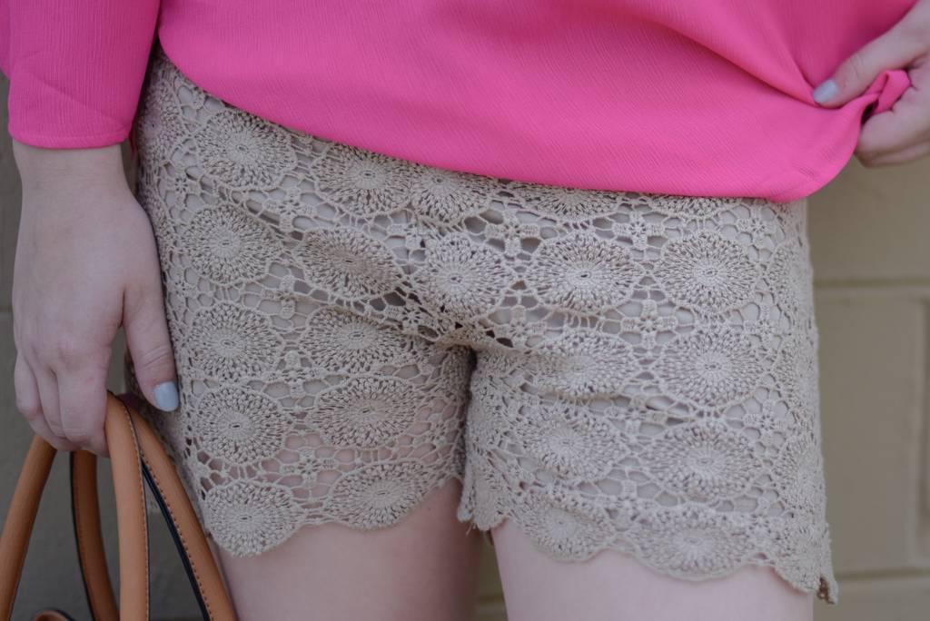 Mocha Crochet Shorts