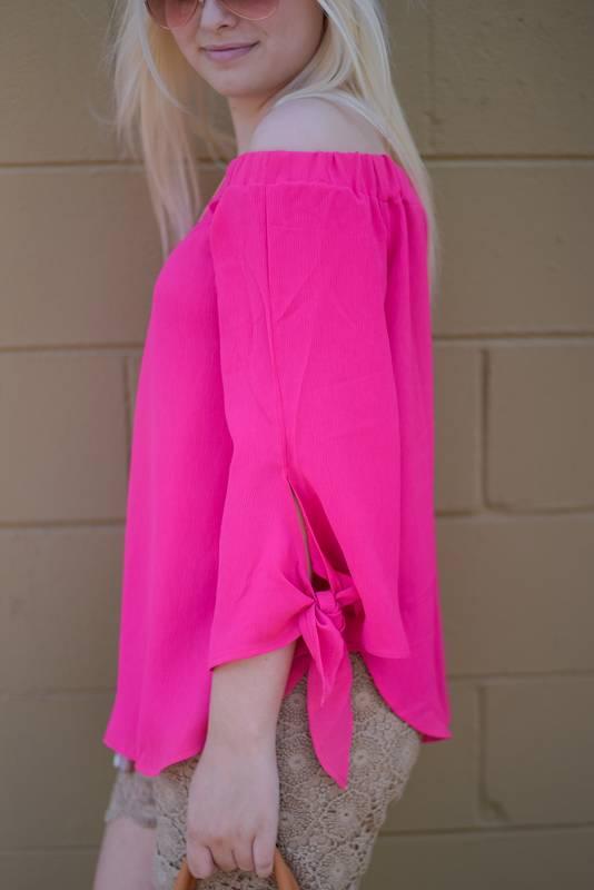 Hot Pink Off Shoulder Top