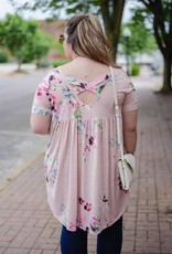 Plus Pink Criss Cross Floral Tunic