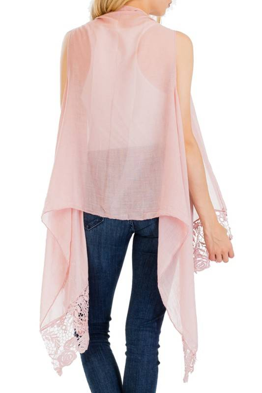 Pink Crochet Trim Vest