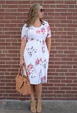 Ivory Floral Midi Dress