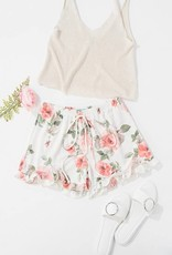 Ivory Floral Shorts
