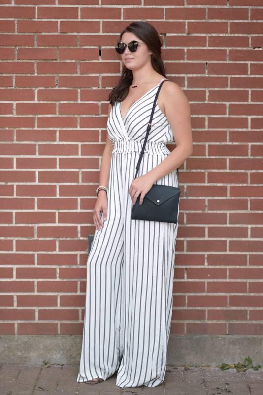 Black/White Striped Jumpsuit