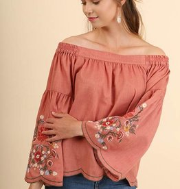 Clay Off Shoulder Embroidered Top
