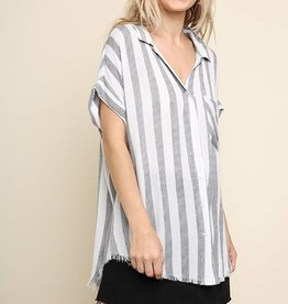 Black Striped Button-Up Top