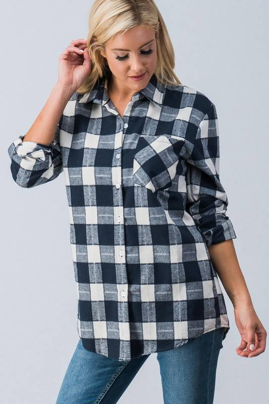 Navy Flannel Top