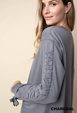 Charcoal Tie Sleeve Pullover