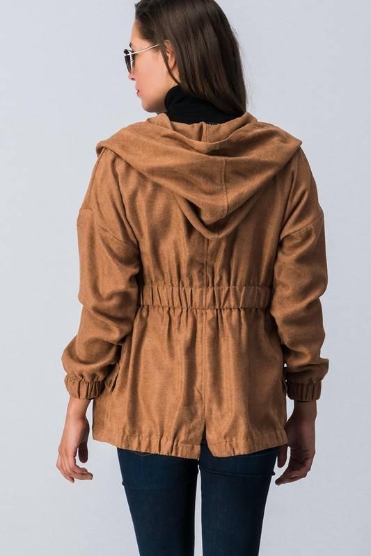 Camel Brushed Cargo Jacket